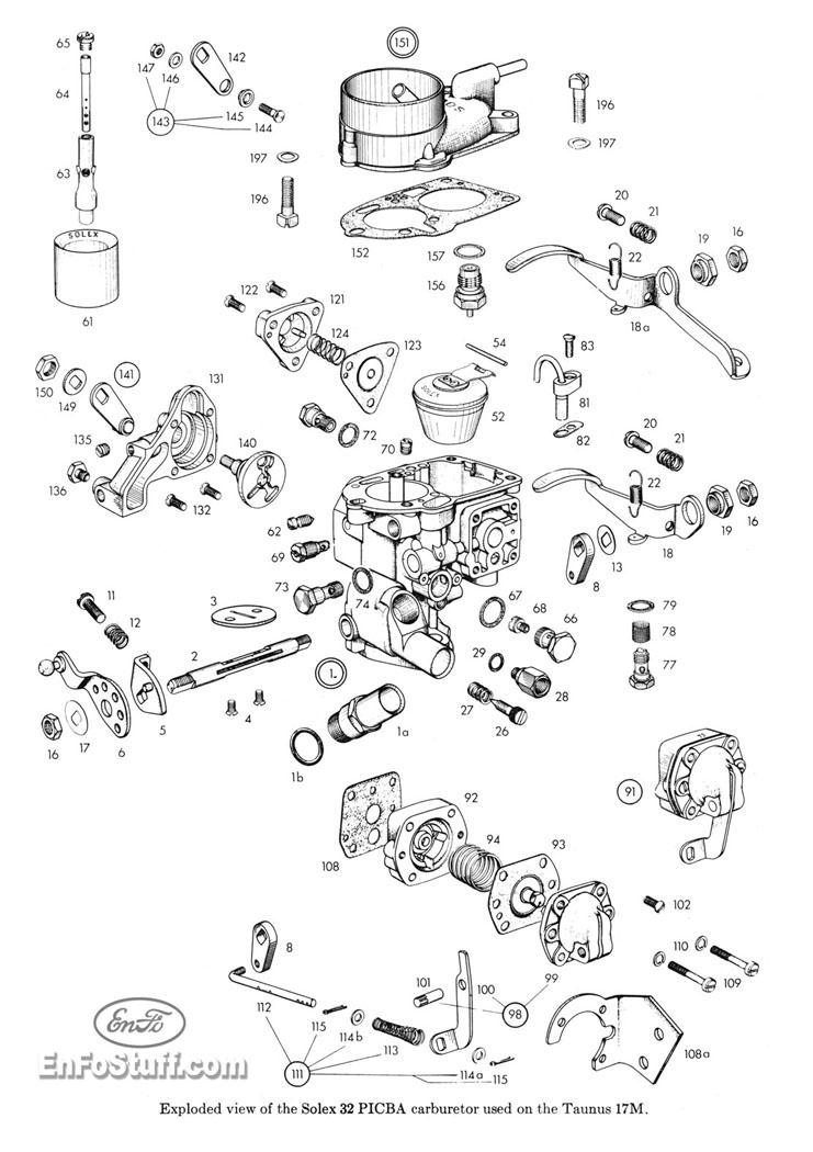 Ajuste de Motor: Despiece Carburador Solex 32 PICBA [Ford